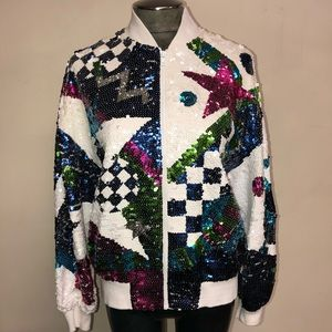 *RARE* 80's IB Diffusion Sequin Bomber Jacket for sale
